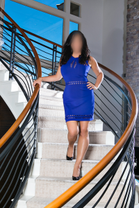 Kate Layne in Blue Dress on Stairs